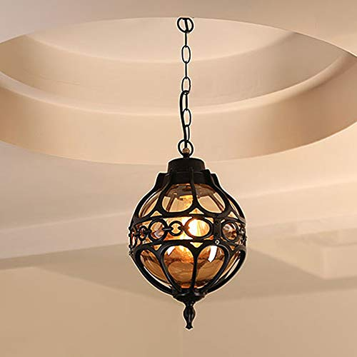 Mengjay Cadena Ajustable Exterior/Interior Colgante de Luz Retro Impermeable Techo Lámpara de araña Exterior lámparas colgantes Vintage Patio porche pasillo lámparas Lámparas