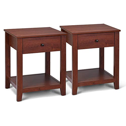 Giantex Nightstand W/Drawer, Storage Shelf and Pull Handle,Beside Sofa Corner for Bedroom, Living Room, Contemporary Accent Espresso Furniture End Table (2)