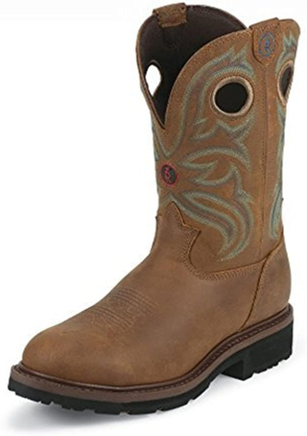 Tony Lama Men's Snyder Brown 11  Height (RR3206)   Foot TAN Cheyenne Buffalo   Pullon Western Boots   Brown Cowboy Leather Boot   Handcrafted in The USA