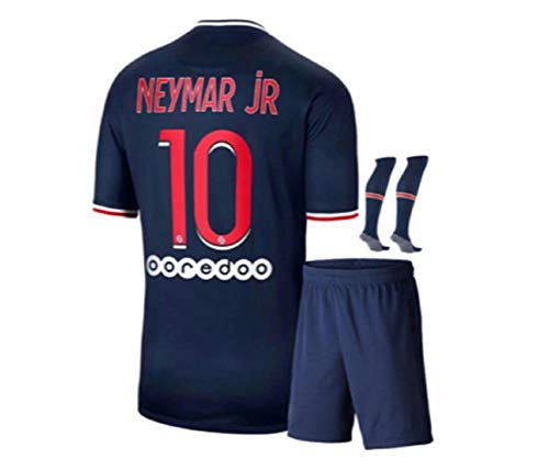 Paris Neymar Blue Home 20/21 Soccer Kids Jersey + Shorts + Socks Set Kit for Youth Size Large (8-9 Years Old)