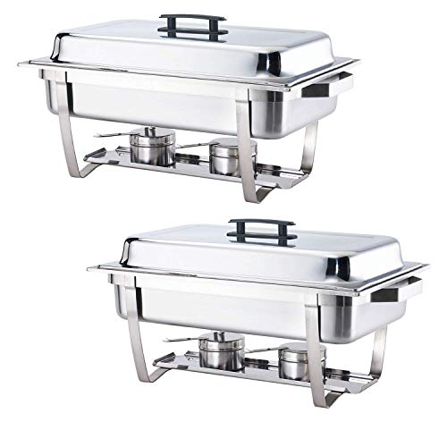 ALPHA LIVING 2 Pack 8QT Chafing Dish High Grade Stainless Steel Chafer Complete Set, One Pack, white