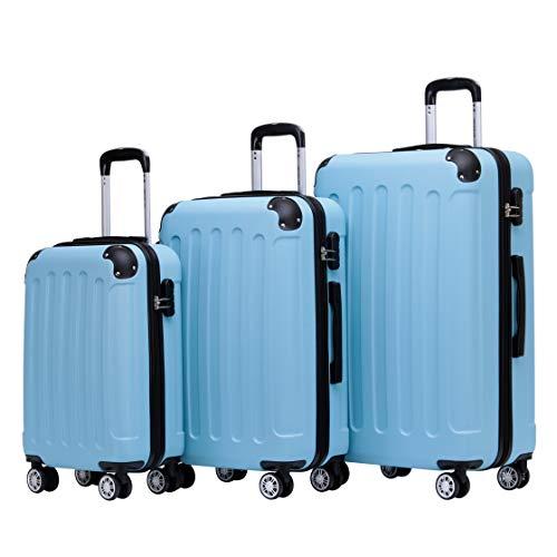 BEIBYE Zwillingsrollen Hardcase Reisekoffer Koffer Trolleys Hartschale in XL-L-M in 14 Farben (Hilmmelblau, Kofferset)