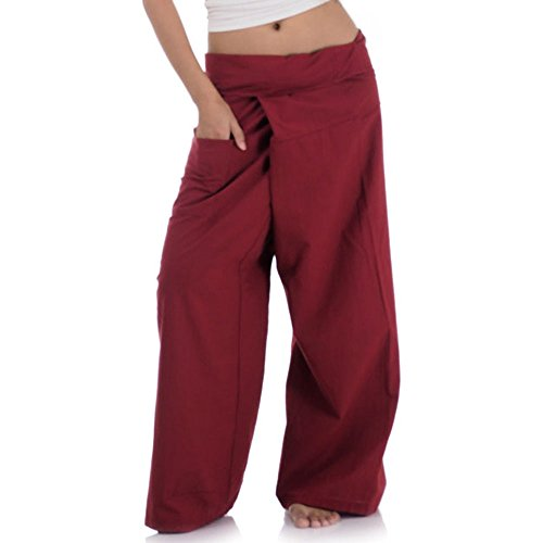 Princess of Asia Thai Fisherman Pants Wickelhose Kung Fu Karate Yoga Hose (Weinrot)