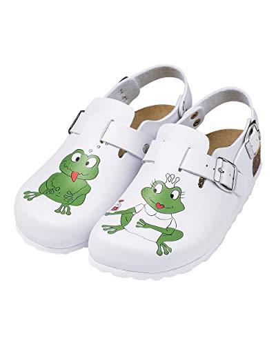 CLINIC DRESS Clog Clogs Damen bunt weiß Motiv. Schuhe für Krankenschwestern, Ärzte oder Pflegekräfte weiß, Frosch 39