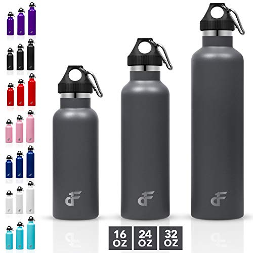 Day 1 Fitness 32 oz. Double Wall SS Standard Mouth Water Bottle Gray