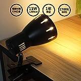 Aiwode(黒い器具+電球色2700K、1セット)LEDクリップデスクライト、(電球付属)11W LED電球 E26口金 LEDレフランプ100形相当、強力クランプ付きヘッドボードライト、ベッドリーディングライト、タッチベッドサイドランプ、ポータブルデスクランプ、明るい照明のオプション、コード長さ1.5M.