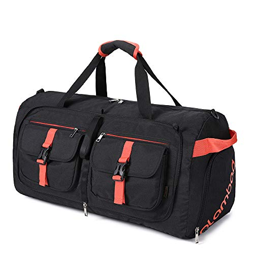 Plambag Travel Bag Foldable Lightweight Gym Bag for Men Women with Storage Shoes Large Capacity 55L 100L for Camping Travel Sport, 50L