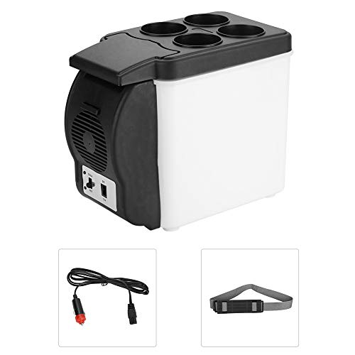 Jacksking 12V 6L tragbarer Autokühlschrank Persönlicher Kühlschrank Mini Multifunktionale Lebensmittel Getränke Wärmer Kühler Kühlschrank für Auto, LKW, SUV, Wohnmobil, Anhänger
