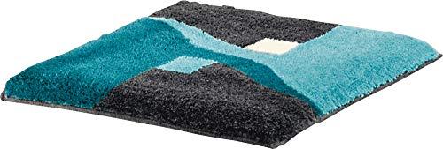 Erwin Müller WC-Vorlage ohne Ausschnitt, rutschhemmend türkis Größe 50x50 cm - kuscheliger Hochflor, für Fußbodenheizung geeignet