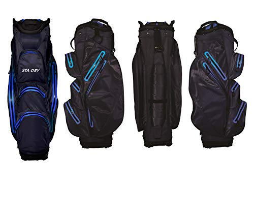 Photo of STA-DRY 100% Waterproof Golf Cart Bag Ultralightweight – Navy and Electric Blue