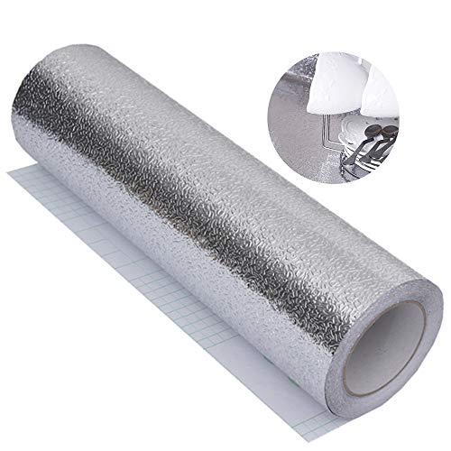 Papel de aluminio resistente al agua pegatinas, Papel Adhesivo Impermeable Pegatinas autoadhesivas de cocina resistente al calor Fondo de pantalla para mesas de gabinete Gabinete Cajones(40 * 300cm)