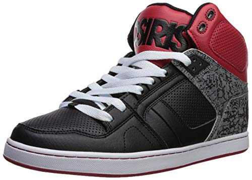 Osiris Men's NYC 83 CLK Skate Shoe, Black/red/Silver, 6 M US