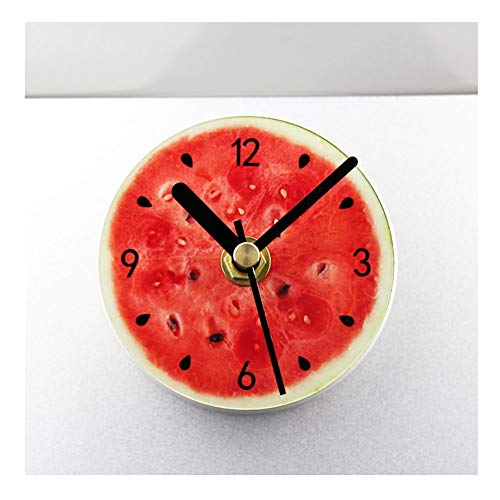 LCHY TB - Reloj de pared con imán a pilas autoadhesivo para nevera, cocina silenciosa, comedor, sandía analógica, pequeños relojes de cuarzo redondos