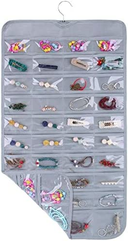 SPIKG Hanging Jewelry Organizer Holder , Storage Bag for Earrings Necklace Bracelet Ring Accessory Display Holder Box (Grey -80 Pockets)