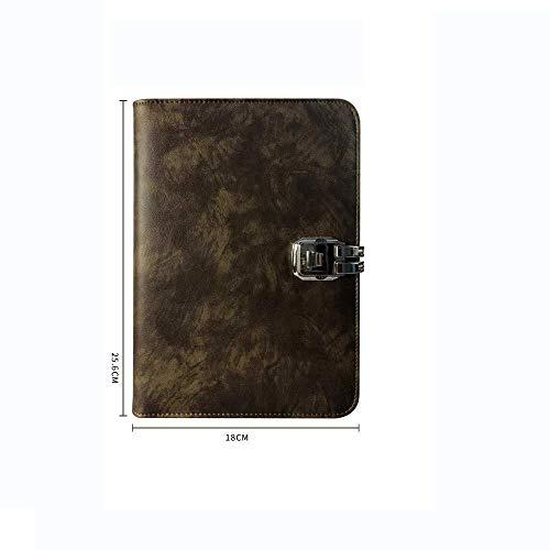 LEIXIN Cuaderno Libreta A5 de Hojas Sueltas de la Cinta de Bloqueo de múltiples Funciones del Cuaderno de la Cremallera del Bolso Password Book Trabajo Diario Bloc de Notas, una (Color : A)
