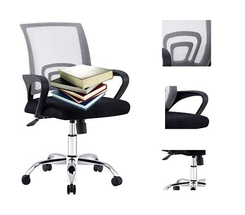 Sedia da ufficio, sedia ergonomica per computer, sedia girevole con design a rete, funzione dondolo regolabile, altezza della seduta, poggiatesta Capacità massima di carico 135 kg (grigio-9050)