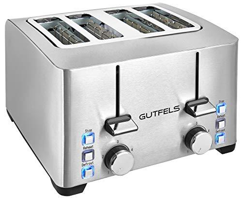 Gutfels Toaster TA 8301 isw | 4 Scheiben-Toaster |1500 W | Krümelschublade und Toastzentrierung | Edelstahl