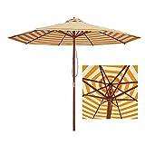 Riyyow Parasol Parapluie Parapluie ombragée, Jaune Blanche Barled Bois Parapluie avec 38mm Centre Pole & 8 côtes, Patio Parapluie-9 Pieds (Size : 9ft)
