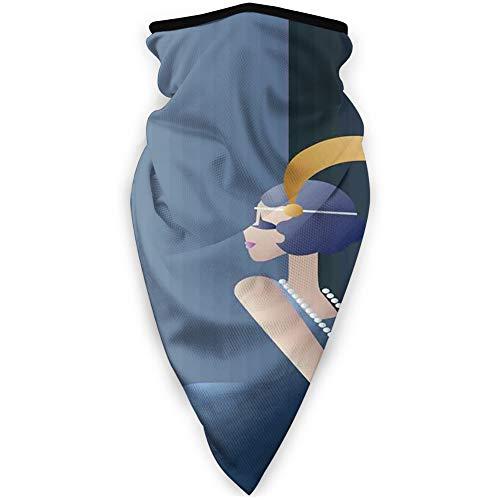 MLNHY - Funda para la cara cómoda a prueba de viento, estilo 20, con collar de perlas y banda para el pelo, decoración facial impresa para todo el mundo