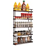 Spice Rack Organizer Wall Mount (Set of 4) Farmhouse Hanging Seasoning Shelf Holder for Cabinet Cupboard Pantry Door or Kitchen Wall - 5 Tier