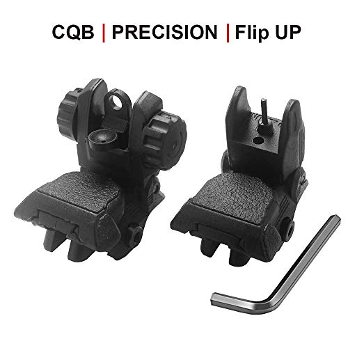 Bugleman Flip Up Iron Sight Solid and Lightweight Front Rear Sight Compatible for Picatinny Weaver Rail Black Pop up Backup Sights