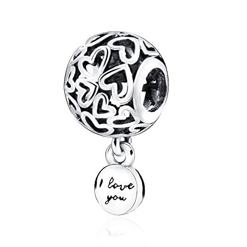 LIIHVYI Pandora Charms para Mujeres Cuentas Plata De Ley 925 Corazones Calados DIY Compatible con Pulseras Europeos Collars