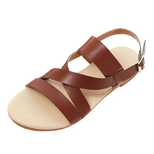 LowProfile Women's Fashion Cross Wide Strappy Buckle Sandals Vintage Classic Flat Sandals Brown