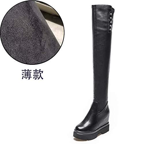 Shukun Enkellaarzen Winter Wedge Boots Women'S Over-Knee Heightening Laarzen Dik-Soled Dunne Super High-Heeled Dikke Laarzen
