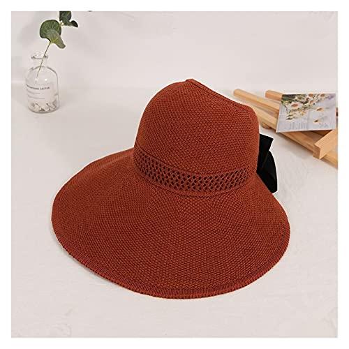 yqs Sombrero para el Sol de Mujer Verano Hembra Sol Sombreros Gran ala clásico Bowknot Plegable Moda Sombrero de Paja Casual al Aire Libre Playa Gorra para Las Mujeres Sombrero Protegido UV