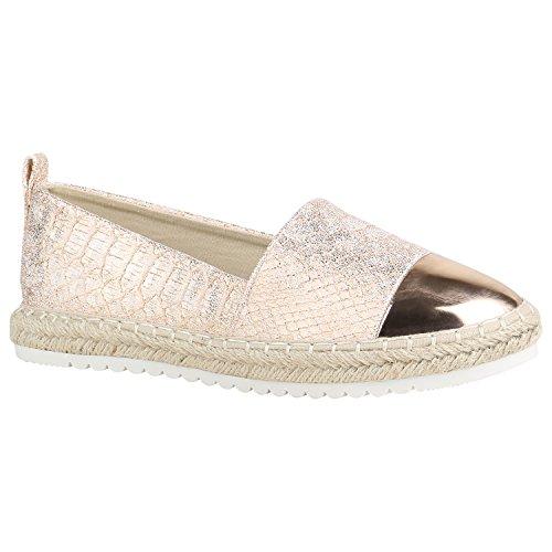 stiefelparadies Damen Espadrilles Bast Slipper Glitzer Sommer Schuhe 155373 Rose Gold Lack 39 Flandell