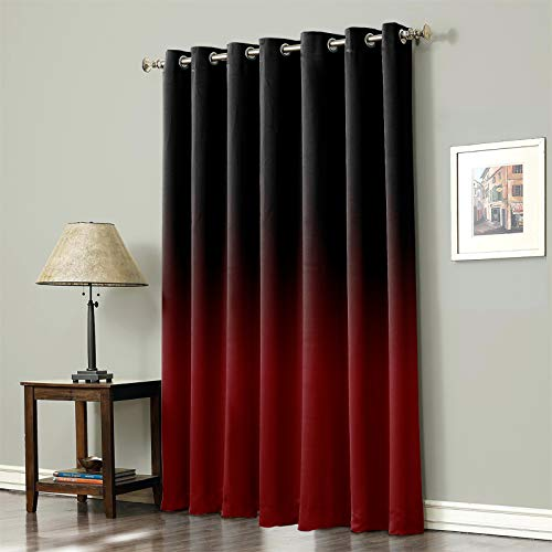 """Edwiinsa Blackout Curtain 45 Inches Long, Lighting Block Thermal Insulated Curtain for Baby Living Room Nursery Girls Bedroom Office, Ombre with Grommet Top, 52""""x 45"""" Gradient Black and Red"""