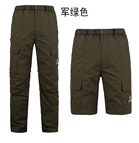 SaySure – pour Homme Pantalon d'extérieur résistant aux UV pour Homme à séchage Rapide Quick Dry Pantalons Pantalon de Sport détachable Camouflage Pantalon (Couleur : Vert armée | Taille : XL)