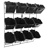 Vertical Wall Garden Planter Kit with 12 Pots - Metal Frame Size 22' W by 26' H - Pot Size 6' W x 8' H - Durable for Indoor or Outdoor Gardening