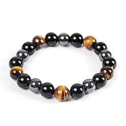 FOLENZU Triple Energy Steelhead Men?s Infrared Bracelet,for Protection Bring Luck And Prosperity Hematite Black Obsidian Tiger Eye Stone Bracelets (10mm)