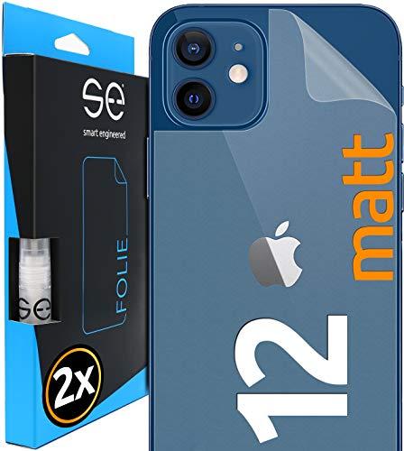 [2 Stück] Entspiegelte 3D Schutzfolien für die Rückseite kompatibel mit Apple iPhone 12, matt, selbstheilender Schutz vor Schmutz und Kratzern, Backcover, kein Schutzglas - smart engineered