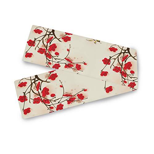 TropicalLife Camino de mesa rectangular F17, diseño de flores de cerezo japonés, 33 x 177 cm, poliéster, para decoración de bodas, cocinas, fiestas, banquetes, comedores, mesas de café