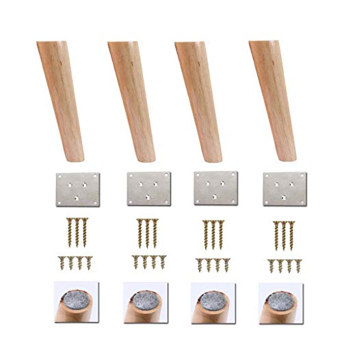 Möbelfüße Massivholz verjüngt, Eiche Couchtisch Beine Stützfüße Sofa Beine TV-Schrank Füße Holz schrägen Kegel Schrank Beine x4