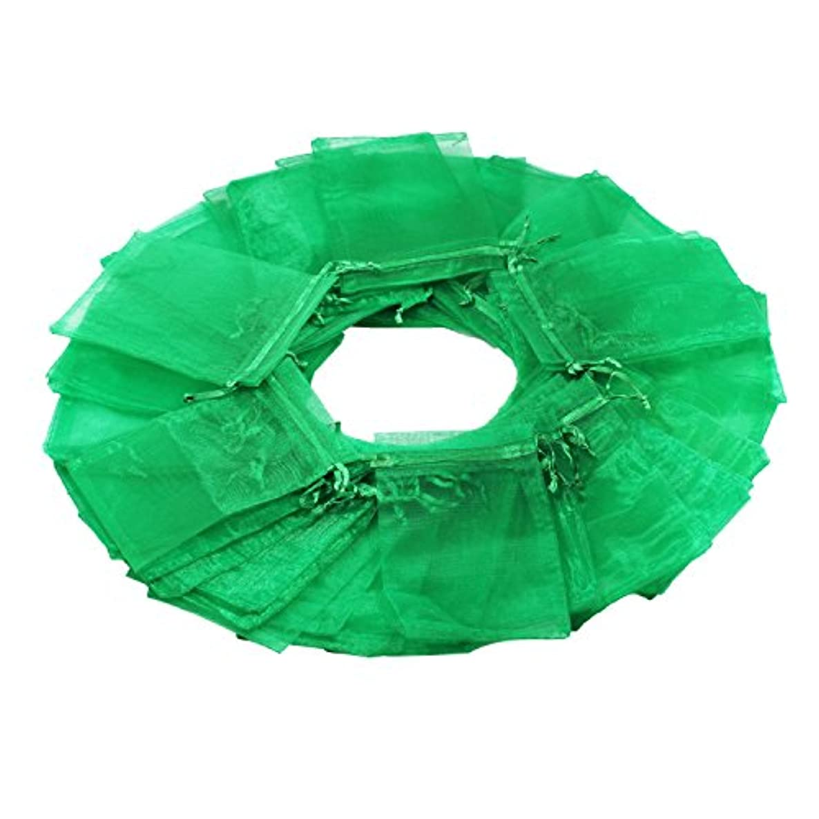 100Pcs 4x6 Inches Sheer Drawstring Organza Jewelry Pouches Wedding Party Christmas Favor Gift Bags (Green)