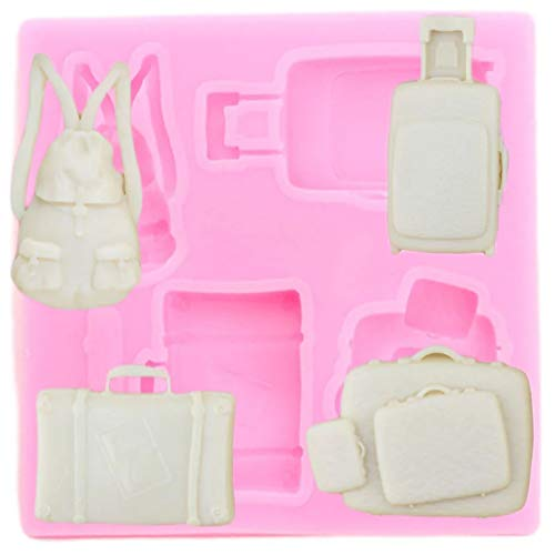 FGHHT 3D Backpack Suitcase Silicone Mold Polymer Clay Resin Mould Fondant Cake Decorating Tools Candy Chocolate Gumpaste Moulds