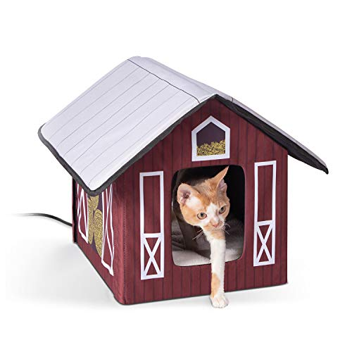 K&H Pet Products Outdoor Heated Kitty House Cat Shelter Barn...