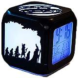 El Señor de los Anillos en 3D del pequeño despertador, Reloj despertador estéreo 3D silenciosa de la noche LED Señor de la Luz de la alarma de manera de los anillos creativo Reloj electrónico