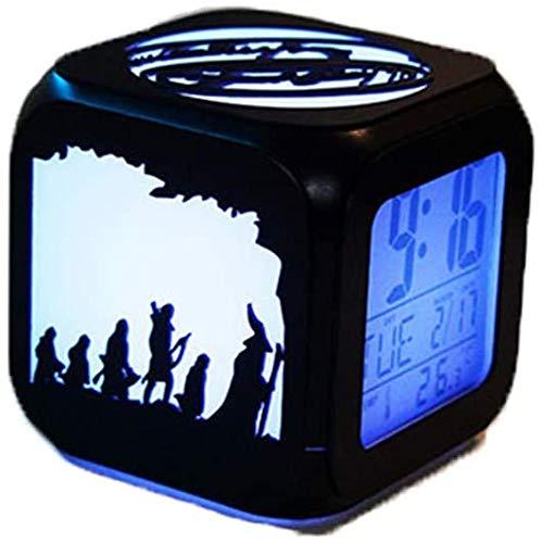 Il Signore degli Anelli 3D piccola sveglia, orologio con sveglia Stereo 3D silenziosa LED Night Light Signore Degli Anelli allarme creativo di modo elettronico Orologio Sette Colori -USB ricarica