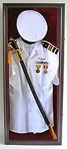 Military Shadow Box Uniform Sword/Gun Display Case, with Lock. Black Finish (Mahogany Finish)
