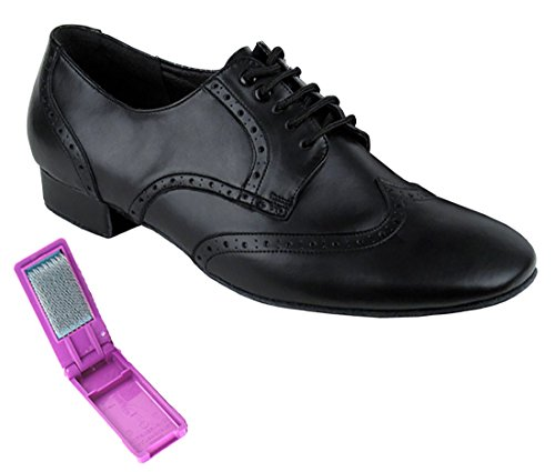 Very Fine Dance Shoes - Mens Standard, Smooth, Waltz Ballroom Dance Shoes - PP301-1-inch Heel and Foldable Brush Bundle - Black Leather - 10.5