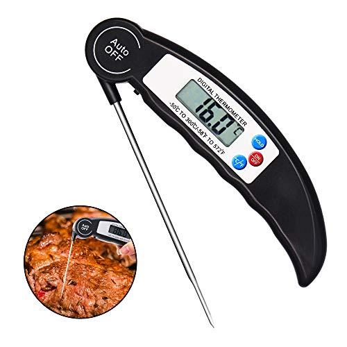 Aiooy Termometro Cucina Digitale, termometro Digitale per Alimenti con sonda Lunga, Ideale per Alimenti, Barbecue, Carne, Caramelle da Cucina, Latte e Acqua da Bagno (Batteria Non Inclusa)
