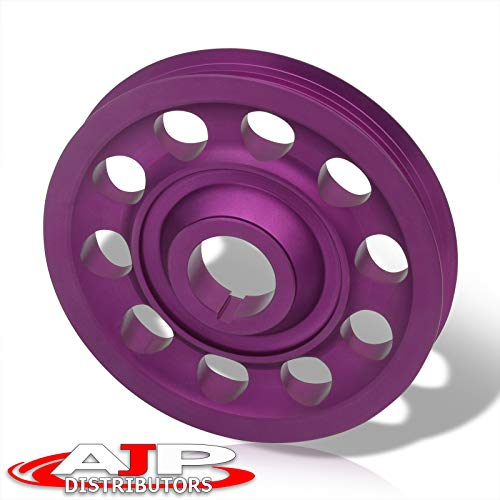 AJP Distributors Performance Racing Upgrade JDM Light Weight Aluminum Crankshaft Crank Shaft Pulley Wheel Kit Purple Replacement For Integra Civic CRX Del Sol CRV B-Series B16 B18 B20 DOHC VTEC Engine