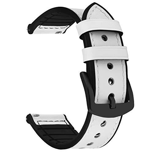 Fullmosa Correa de Reloj de liberación rápida de 22 mm, Correas de Reloj híbridas de Cuero y Silicona para Samsung Gear S3 Frontier, Huawei Watch 2, Moto 360 2nd Gen 46 mm, Garmin Watch, Blanco