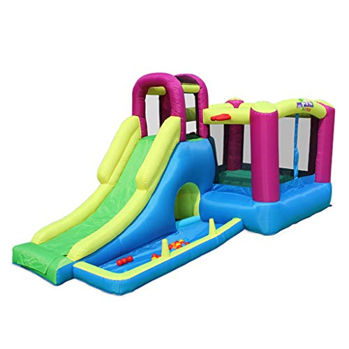 For Sale! Children's Inflatable Castle Children's Slides Home Inflatable Trampoline Safe Playground Bounce House Play House for Kids (Color : Blue, Size : 485x230x223cm)