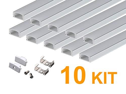 KingLed - 10pz di Profilo in Alluminio da 1mt a Forma U Modello CC-32 con Coperchio Opaco in Plexiglass per Striscia Led Cod 1232