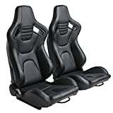 Racing Seats, Pair of PVC Leather Racing Bucket Seats with Dual Sliders, Black with Black Stitching